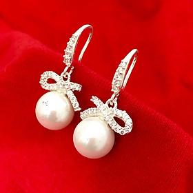 Bông tai nữ khuyên móc gắn ngọc size10ly chất liệu bạc thật không xi mạ trang sức Bạc Quang Thản - QTBT107