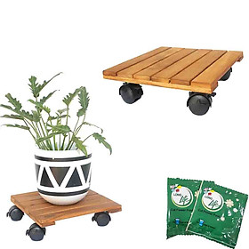 COMBO 2 Đế Lót Chậu Cây có bánh xe GREENHOME- Chậu Hoa bằng gỗ Tự Nhiên -Có bánh xe (Vuông-Vàng)  Đường Kính 30cm - Tải trọng 80kg-TẶNG HAI GÓI DƯỠNG HOA TƯƠI LÂU