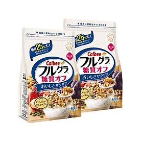 Set 02 túi ngũ cốc trái cây ăn liền Calbee (gói trắng) 600gr - Loại ít đường - Nhập khẩu Nhật Bản