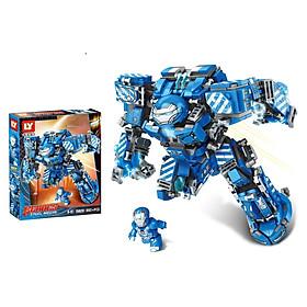 Lắp Ráp Xếp Hình Marvel Mô Hình Robot Hulkbuster Iron Man Xanh MK38 602 Khối LY76020 - Đồ Chơi Trẻ Em