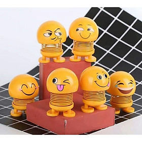 Thú nhún lò xo mặt cười biểu cảm vui nhộn Emoji ngộ nghĩnh, mặt cười cute, icon đáng yêu, đồ chơi Emotion smile Mặt cười lò xo đáng yêu, hài hước trang trí tap lô xe ô tô, xe máy, bàn làm việc
