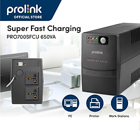 Bộ nguồn cấp điện liên tục UPS PROLINK 650VA (PRO700SFC) Công suất 360W, công nghệ Line Interactive tích hợp bộ AVR, sạc siêu nhanh - Hàng chính hãng