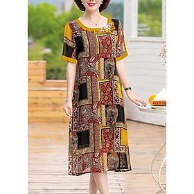 Đầm Suông Trung Niên Nhiều Size Kiểu Đầm Suông Đính Đá Sang Trọng  In Họa Tiết - THỜI TRANG DỰ TIỆC TRUNG NIÊN CAO CẤP ROMI 3294