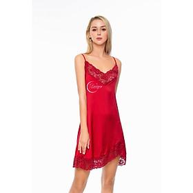 Dreamy-VS10-Váy ngủ lụa cao cấp, váy ngủ nữ, váy ngủ 2 dây, váy ngủ gợi cảm, váy ngủ sexy, đầm ngủ lụa mặc nhà 2 dây phối ren có 3 màu đỏ đô, hồng pastel và đen
