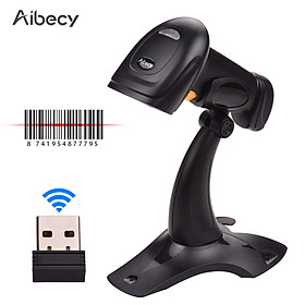 Aibecy 2.4G Wireless Handheld 1D Barcode Scanner Bar Code Reader with USB Cable Receiver Bracket Compatible with Linux