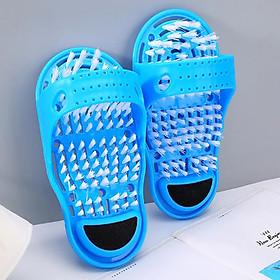 Dép Bàn chải Massage chân, rửa chà gót chân Dụng cụ rửa chân đa năng tặng chai xịt giày