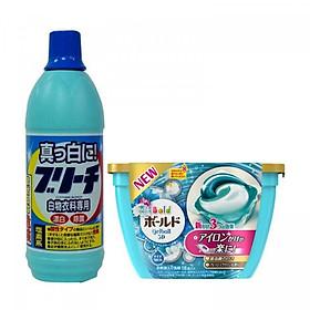 Combo Nước tẩy quần áo 600ml Rocket + Hộp 18 viên giặt xả 3D Gel Ball (2 trong 1) nội địa Nhật Bản