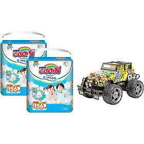 Combo 2 bịch Tã quần Goon Premium cao cấp gói siêu đại L56 (9kg ~ 14kg) + Bộ đồ chơi xe điều khiển cao cấp