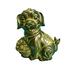 Tượng Chó (Mậu Tuất) cõng chữ Phúc đầu đội Như Ý bằng đồng thau lên men xanh giả cổ nặng 1150g cao 14cm - Phong thuỷ mang lại may mắn sức khoẻ cho gia chủ