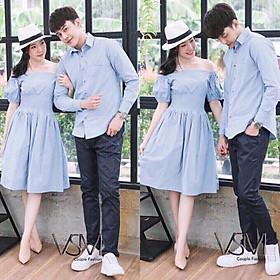 Áo đôi nam nữ   Váy áo sơ mi đôi nam nữ Hàn Quốc couple - Đồ đôi đẹp - AV05