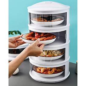 Khay đựng thức ăn giữ nhiệt chống ruồi muỗi 4 tầng