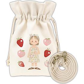 Women Canvas Bag Print Bucket-Shaped Oranges Strawberries Milk Little Girl Cute Crossbody Mobile Phone Bag