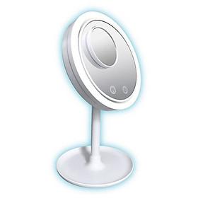 Gương trang điểm có đèn led cảm ứng tích hợp quạt làm mát kèm gương mini phóng đại 5x có thể tháo rời