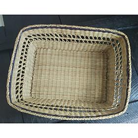 Rổ đựng đồ đa năng bằng cói đan thủ công hình chữ nhật