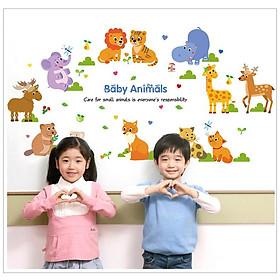 Decal dán tường tranh dán trang trí phòng bé yêu hình các con vật dễ thương, ngộ nghĩnh vừa học vừa chơi AmyShop DB058 ( 75 x 140 cm)