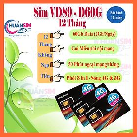 [ Miễn phí 1 năm] 1440GB/1 Năm - Mỗi tháng tặng 120GB - Miễn phí cuộc gọi  Sim Vinaphone- VD89P -VD149 - VD89-D60G