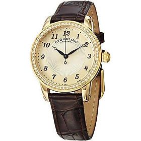 Stuhrling Original Women's Symphony Swiss Quartz Swarovski Crystal Bezel Leather Watch 651 Series