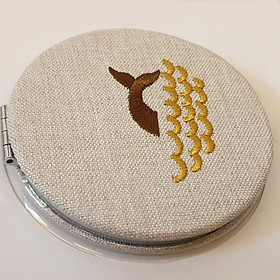 Gương Trang Điểm Vải Gấm Cao Cấp Hai Mặt Tròn Mini Tiện Lợi - G0012