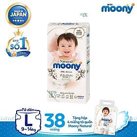 Tã dán Moony Natural L38 tặng hộp 4 miếng tã quần Moony Natural XL