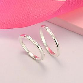 Nhẫn đôi bạc, nhẫn cặp bạc đơn giản ND0407