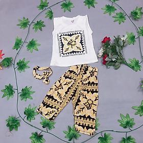 Sét bộ quần áo bé gái 3 chi tiết gồm áo cotton quần lanh lụa kèm tuban cho bé gái từ 7kg đến 20kg