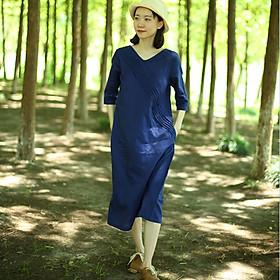 Đầm suông chất đũi cổ V tay lỡ trẻ trung, chất đũi mềm mát, thời trang xuân hè 2021