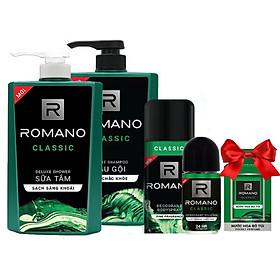 Bộ Romano Classic: Dầu gội 650g, sữa tắm 650g, xịt khử mùi 150ml,lăn khử mùi 50ml +Tặng kèm nước hoa bỏ túi 18ml