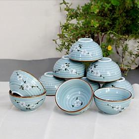 Bộ bát ăn cơm men Lam Ngọc vẽ hoa Anh Đào cao cấp gốm sứ Bảo Khánh Bát Tràng