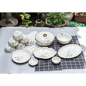 Bộ sản phẩm đồ ăn vẽ hoa đào hồng gốm sứ Bát Tràng( 13 món)