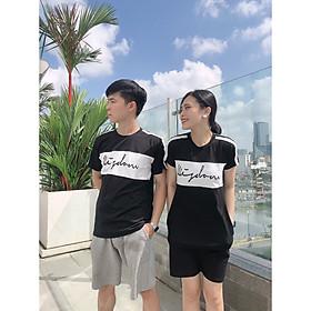 Set đồ đôi áo váy cặp CoupleTina 100% cotton cao cấp  - Màu đen họa tiết