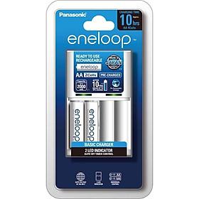 Sạc Tiêu Chuẩn Panasonic Eneloop Trong 10 Giờ K-KJ51MCC20V + Tặng 2 Viên Pin Sạc Standard 2000mah (Trắng) - Hàng Chính Hãng