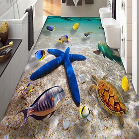 Decal PVC 3D Trang Trí Sàn Nhà Hình Sao Biển