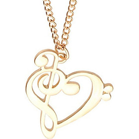 Charm Unisex Heart Clefs Music Note Pendant Necklace Music Note Jewelry