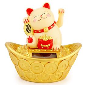 Chú Mèo May Mắn Ngồi Trên Thỏi Vàng (giao màu ngẫu nhiên)