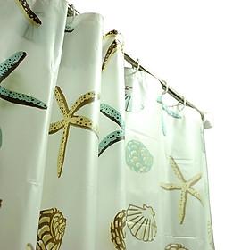 Rèm Nhà Tắm / Rèm Cửa Sổ Họa Tiết Vỏ Sò kèm móc - loại 1m8 x 2m