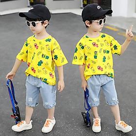 BT12Size80-120Đồ Bộ cho bé trai. Quần jean lửng + áo thun ngắn tayThời trang trẻ Em hàng quảng châu