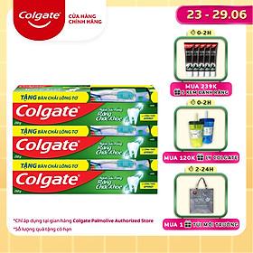Bộ 3 kem đánh răng Colgate ngừa sâu răng răng chắc khỏe 225g/ tuýp tặng bàn chải lông tơ cao cấp Thái Lan