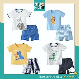 Bộ quần áo cộc tay trẻ em in hình ĐỘNG VẬT 3 , bộ quần áo tay ngắn bé trai bé gái mùa hè chất cotton thoáng mát