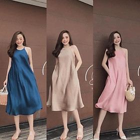 váy maxi cổ yếm dáng suông chất lụa 3 màu sang chảnh