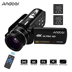 Andoer 4K Ultra HD Máy Chụp Quay Video Kỹ Thuật Số Cầm tay DV Cảm Biến CMOS Ống Kính Góc Rộng 0,45X
