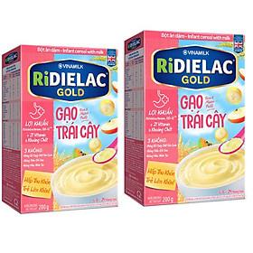 Combo 2 hộp BỘT ĂN DẶM  RIDIELAC GOLD GẠO TRÁI CÂY -  HỘP GIẤY 200G