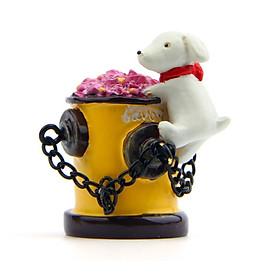 Mô hình chó trắng trèo lên bục sắt cắm hoa dùng trang trí tiểu cảnh, dựng studio, DIY