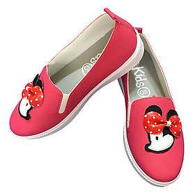 Hình ảnh Giày Lười Bé Gái Trang Trí Hình Chuột Mickey Kids Shoes - Hồng Sen