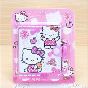 Sổ tay bìa da cartoon cute kèm bút cho bé 84 trang 8x10,5cm - Hello Kitty