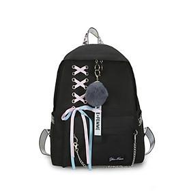Balo nam nữ đi học, đi chơi phong cách Hàn Quốc, kiểu dáng dây nơ trên kèm móc khóa