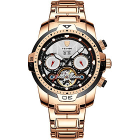 TEVISE T816A Automatic Mechanical Movement Men Watch Self-Winding Manual Winding Wind-Up Skeleton Wrist Watch 3ATM