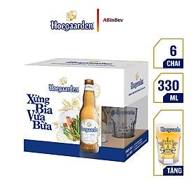 Lốc 6 chai Hoegaarden White Xứng Bia Vừa Bữa (330ml/chai) + 1 ly thủy tinh