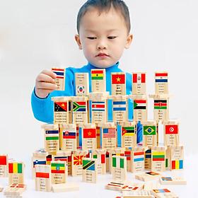 Đồ Chơi Gỗ Bộ Domino 100 Quốc Gia Trên Thế Giới