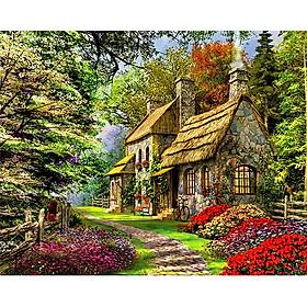 Tranh sơn dầu số hoá tự tô - ngôi nhà ngàn hoa