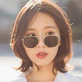 Mắt Kính Nữ Gọng Vàng Phong Cách Hàn Quốc Tặng Lá Bồ Đề May Mắn Bình An